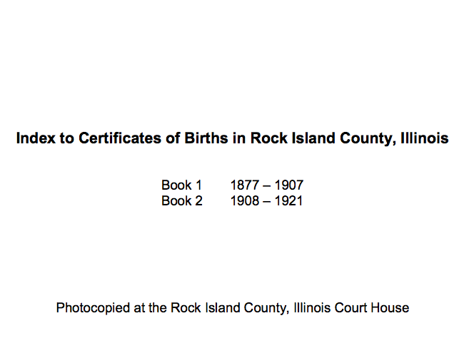 Index to Certificates of Births in Rock Island County, Illinois